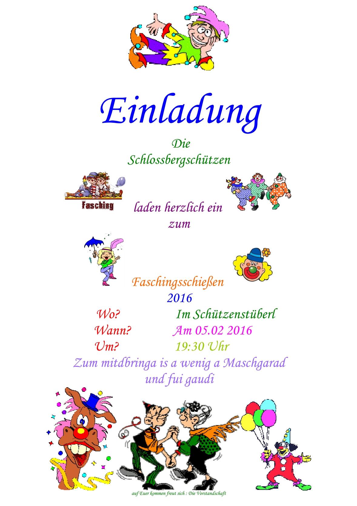 Fasching Schloßbergschützen Julbach